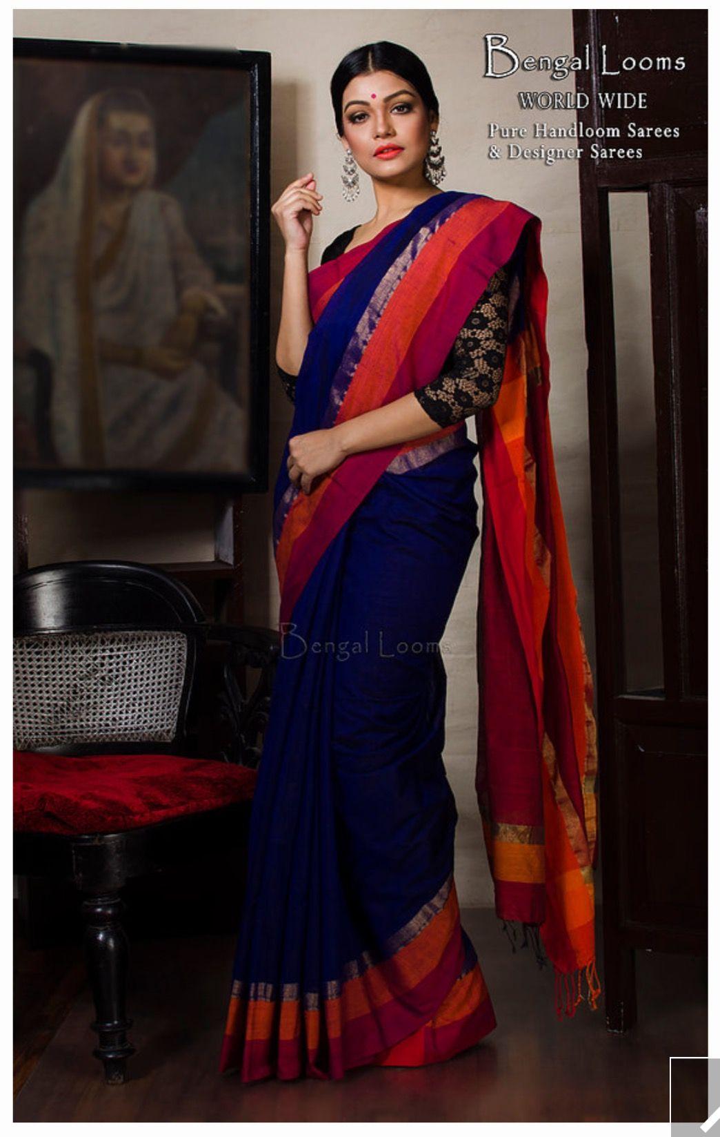 59493be381 Elegant Pure Khadi Saree in Navy Blue with Orange border | Fashion ...