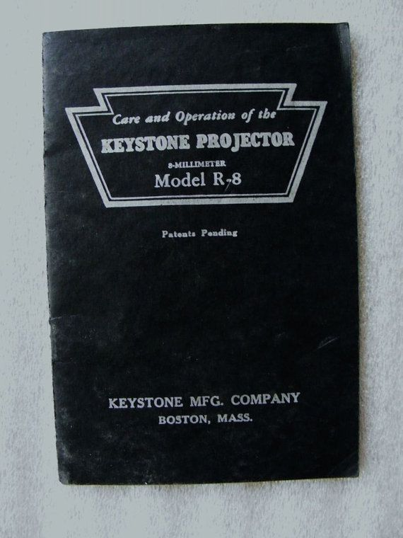 Vintage Keystone Projector Manual Model R-8 8mm 1940s Care and