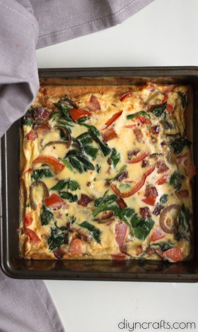 Delicious Spinach And Bacon Frittata #baconfrittata