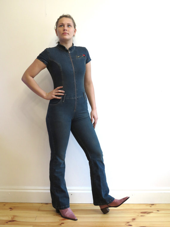 Womens Denim Jumpsuit One Piece Romper Pants Blue Jean Fitted Size ...