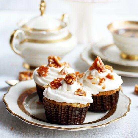 Moist Cupcakes With Creamy Milky Frosting And Caramel Almond