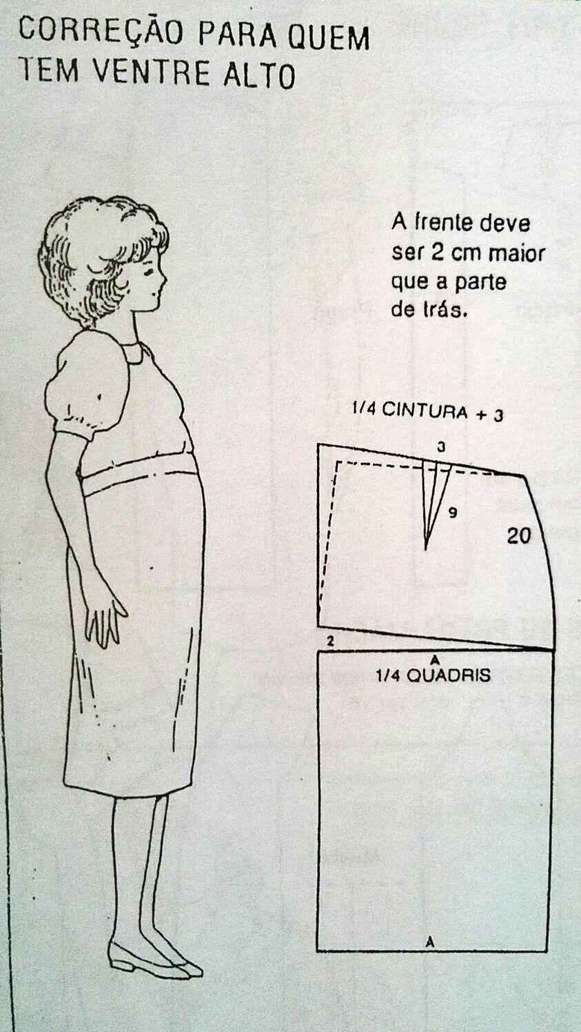 Correção para quem tem o ventre alto | Moldes y costuras ...