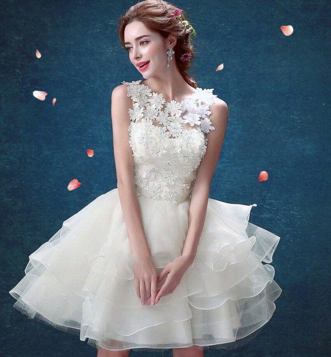 5beba9aac8732  楽天市場 大人気のミニドレス ウエディングドレス ショート ...