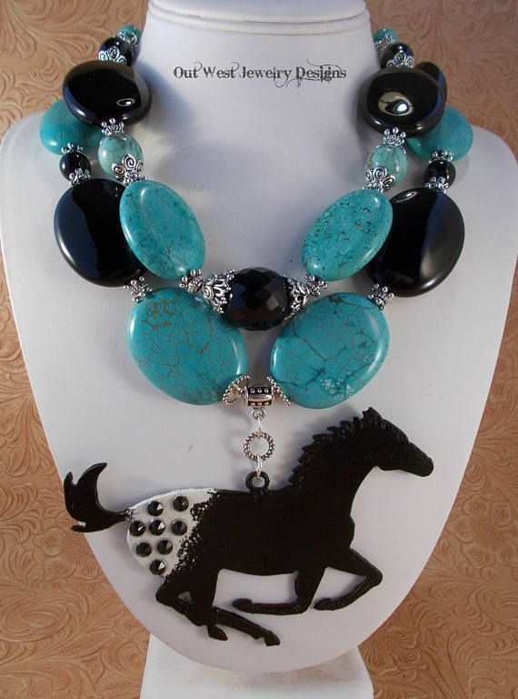 RESERVED Listing Western Cowgirl Necklace Set  Chunky Black