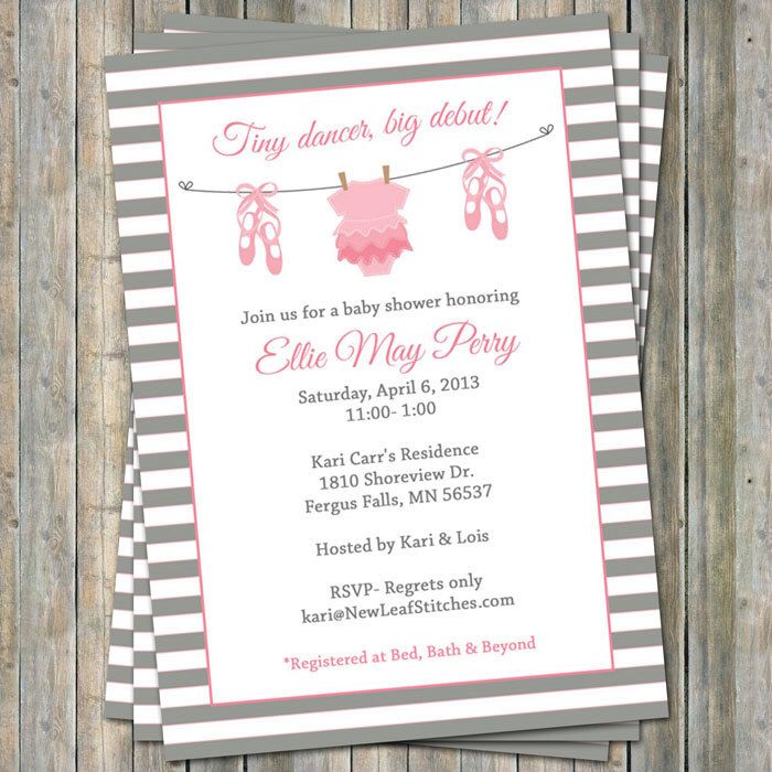 Ballet Baby shower Invitation, baby girl shower, pink and gray ...