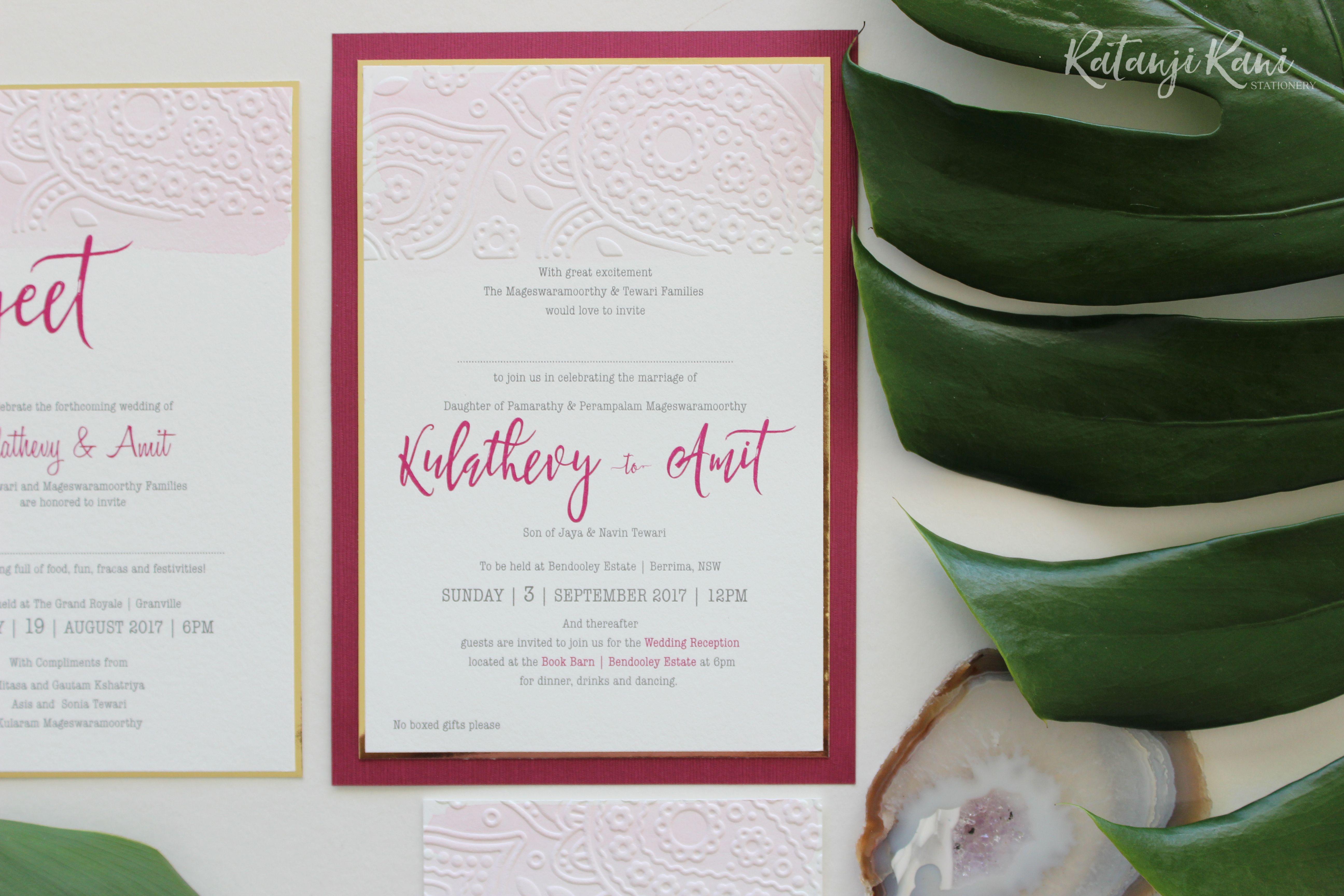 Bespoke modern South Indian wedding invitation. Hint of gold ...
