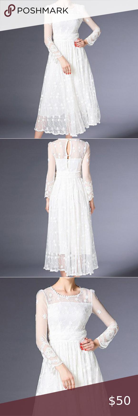 Metisu White See Through Lace Dress S Lace Dress Dresses See Through Dress [ 1740 x 580 Pixel ]