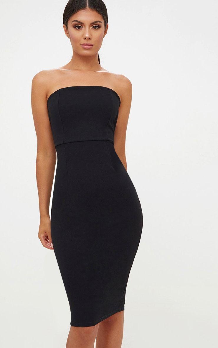 Black bandeau split back midi dress dresses black