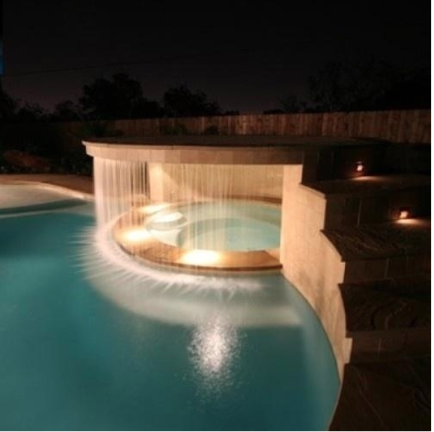 Have A Waterfall Separate The Pool From The Hot Tub House Design Dream House My Dream Home