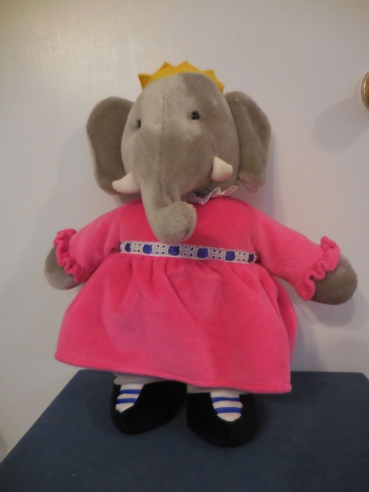 Babar The Elephant Queen Celeste 14 Plush Gund Stuffed Toy Pink