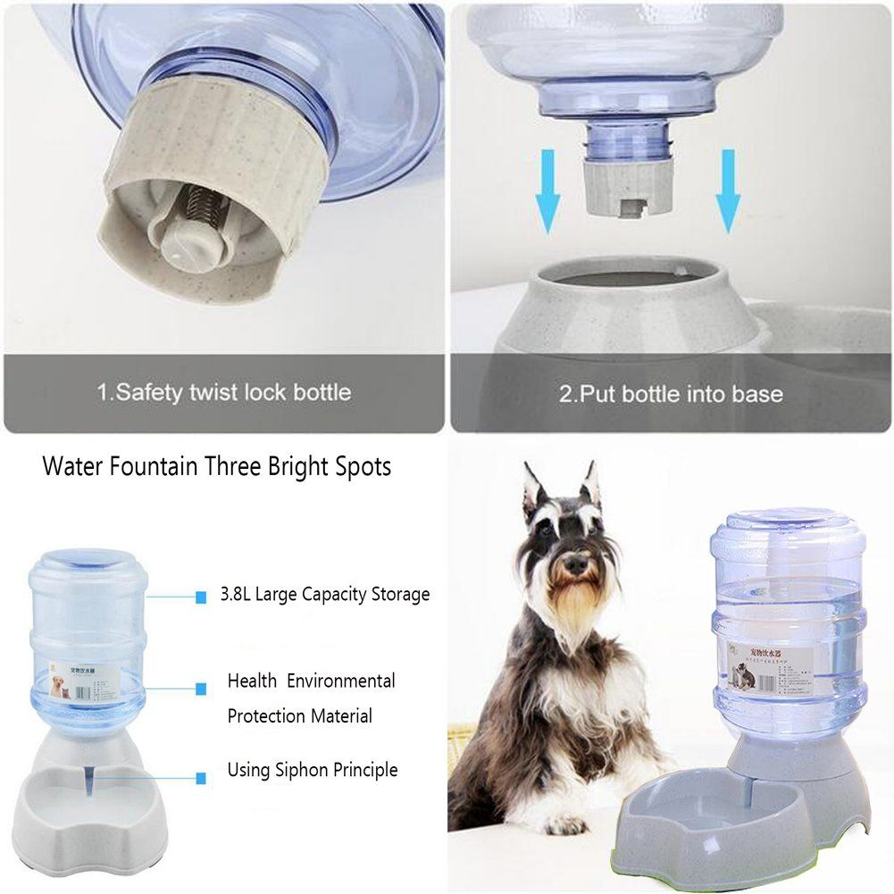 Old Tjikko Dogs Water Dispenser,Water Bowl for Dogs,Pet Water Dispenser,Automatic Dog Water Bowl Cat Water Dispenser Dog Drinking Fountain,1 Gallon One Cover