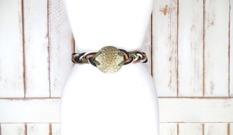 80s vintage tan/green braided rope metal medallion belt/ woven chord statement belt/boho/hippie festival belt by GreenCanyonTradingCo on Etsy