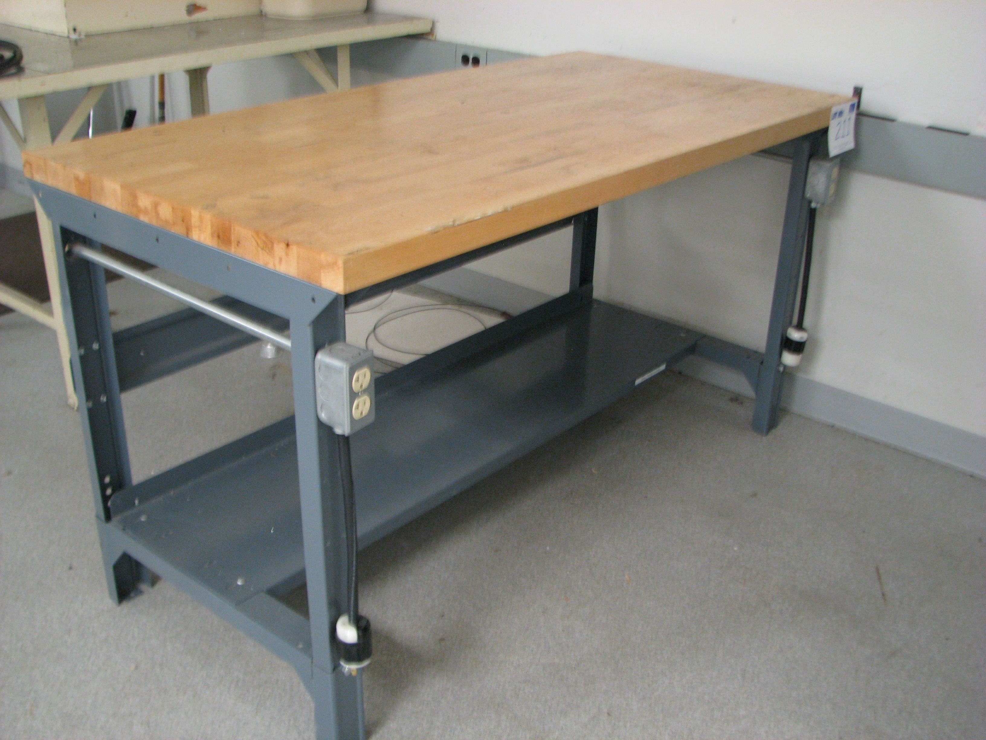 Butcher Block Workbench >> 6 Foot Long Butcher Block Top Workbench W Built In Power Outlets