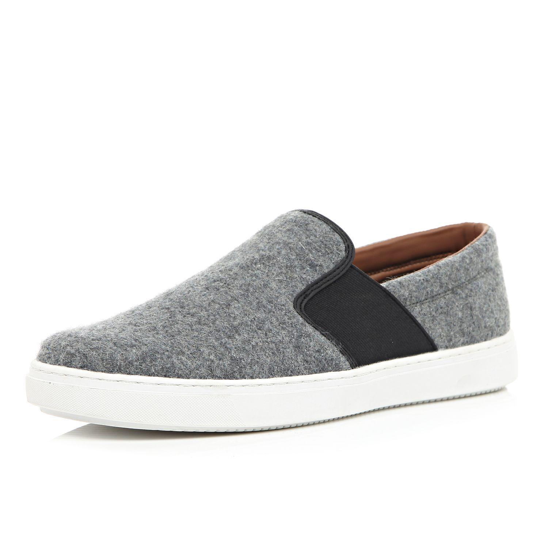 Felt Slip on Black elasticated sides Chunky white sole