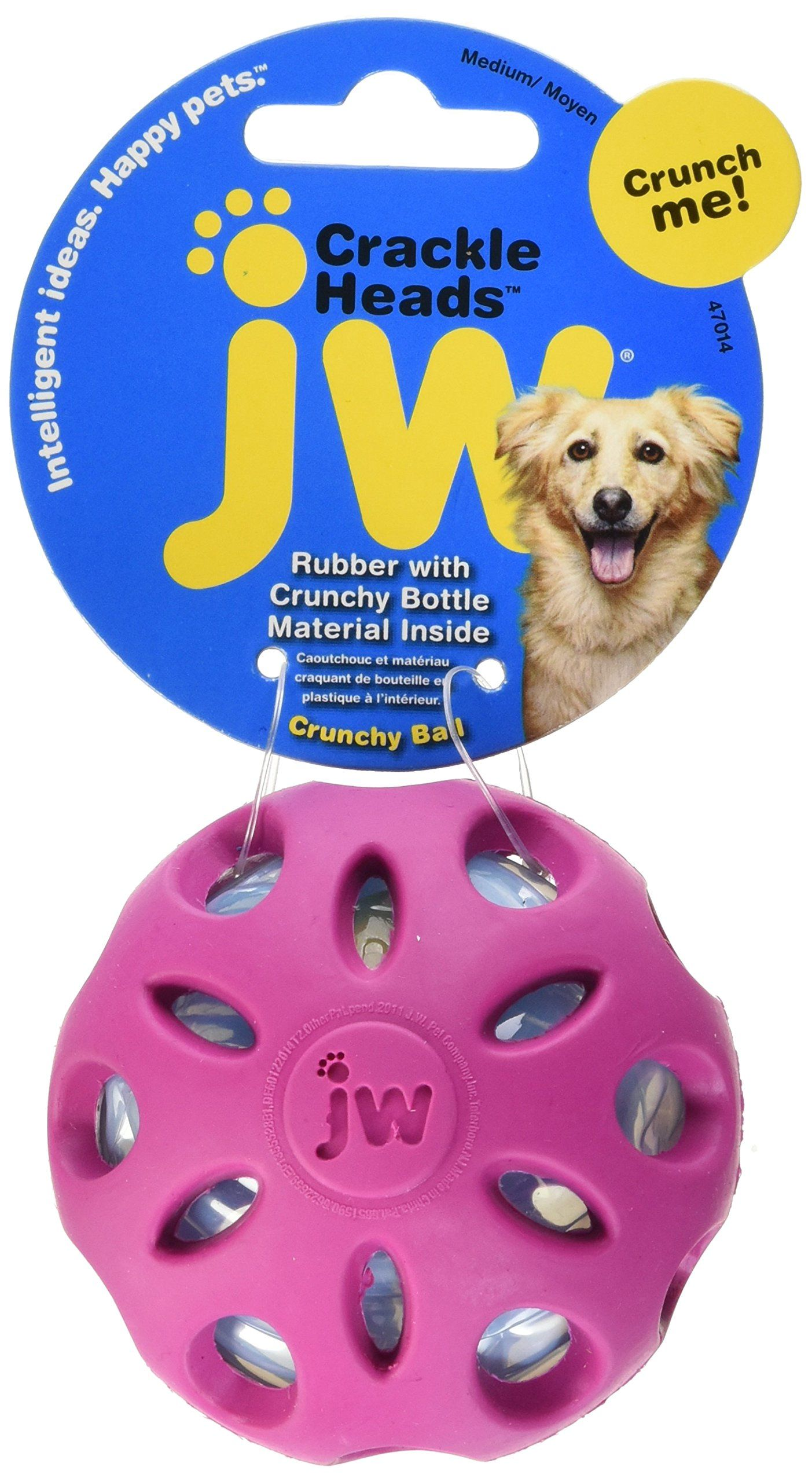 Jw Pet Company Crackle Heads Crackle Ball Dog Toy Medium Colors