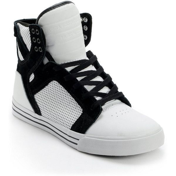 e0256cc68487 Supra Skytop White Black Perforated Leather Skate Shoe ( 120) found on  Polyvore featuring shoes