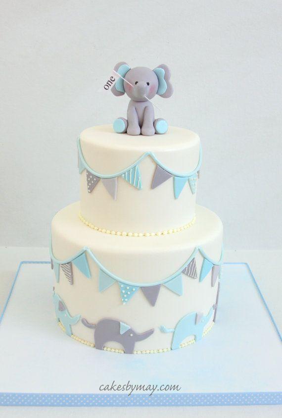 Blue Gray Baby Elephant Bunting Cake Cakes Decorated Pinterest