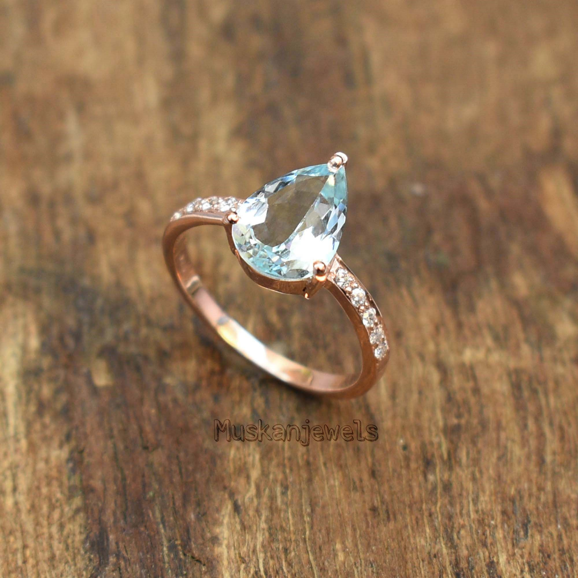 Natural Aquamarine Ring Octagon March Birthstone Blue Aquamarine weeding /& engagement Ring silver ring Gift For Her everyday Ring