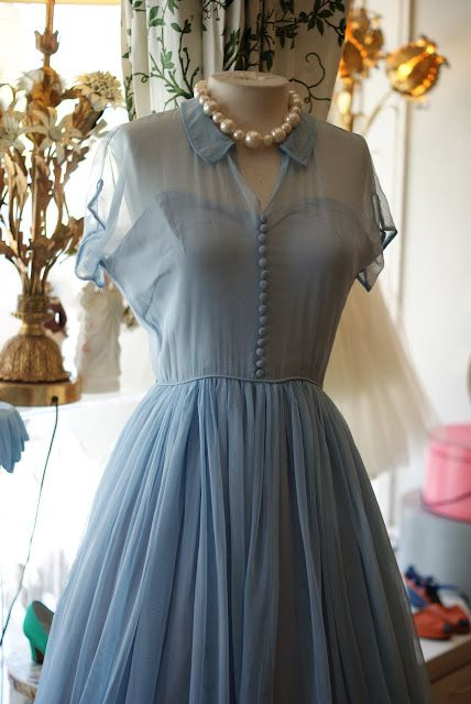 1950s Sunday Dress With Sheer Overlay In Pale Blue By Emma Domb