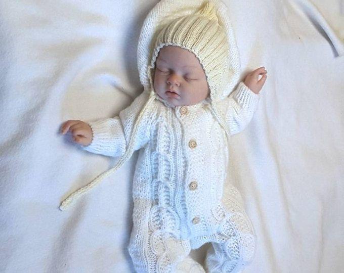 9cef6d7e5 Bebé mono de punto. Ropa de bebé de punto. Mameluco del knit del bebé.  Conjunto de bebe tejido a mano. Monos recién nacidos. Batas de bebé. Bebé  mono blanco