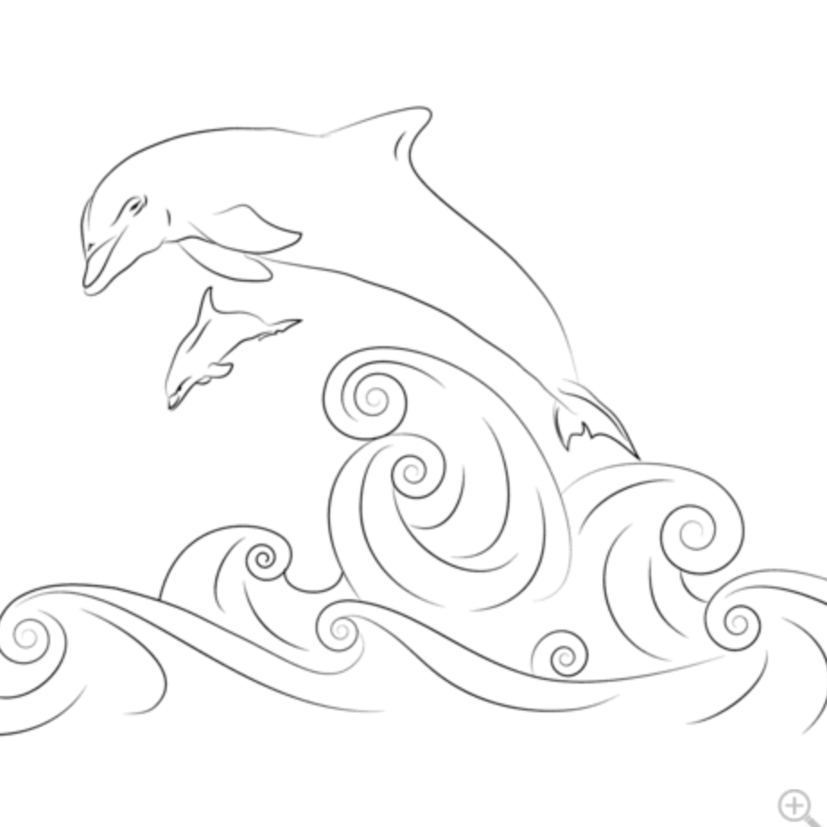Waves Dolphins Dolphin Coloring Pages Dolphin Drawing Coloring Pages