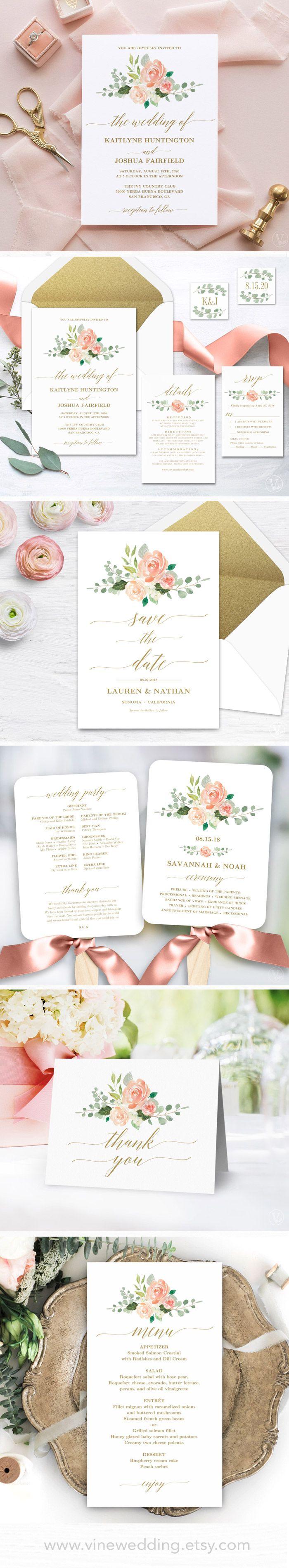 Blush peach and gold wedding invitations diy printable wedding