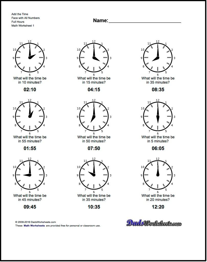 Free printable worksheets for telling analog clock times
