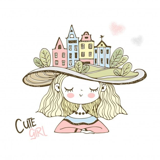 Cute Girl In A Hat With European Houses.