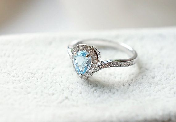 Pear Shaped aquamarine halo ring in14k by KabellaCustomJewelry (scheduled via http://www.tailwindapp.com?utm_source=pinterest&utm_medium=twpin&utm_content=post120967411&utm_campaign=scheduler_attribution)