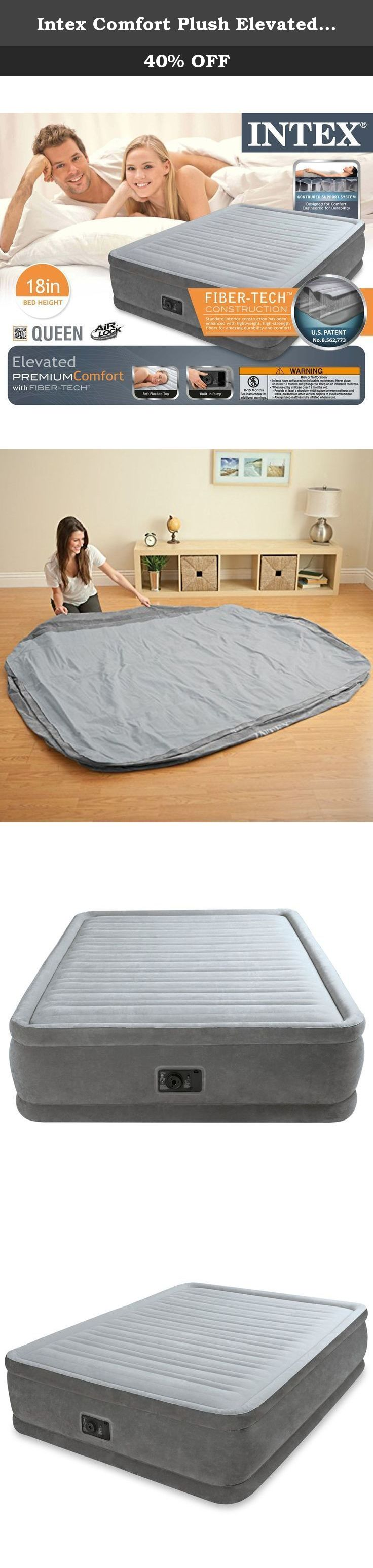 intex air mattress on intex comfort plush elevated dura beam airbed bed height 18 queen the comfort plush elevated airbed is a part of t inflatable mattress air bed bed mattress pinterest