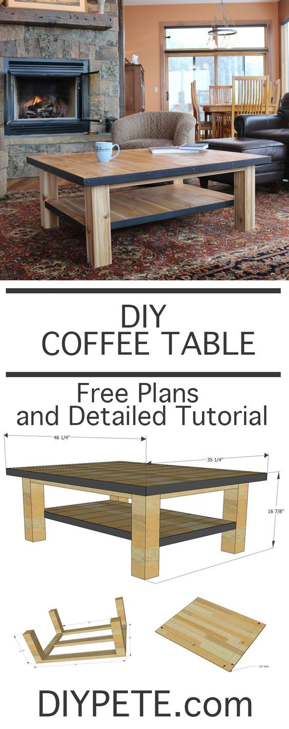 How to make a diy coffee table combine wood and steel for for Unusual table plans
