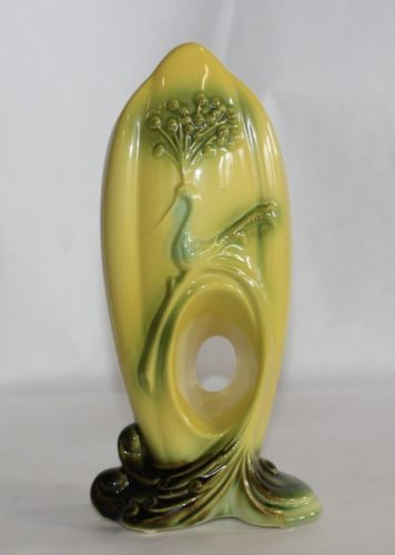Vintage-HULL-POTTERY-50s-Peacock-Vase-Bird-Yellow-Art-Nouveau-Deco-Exotic