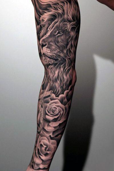 Tatuaże Męskie Lew I Róże Tattoo Tatuaże Męskie Tatuaże