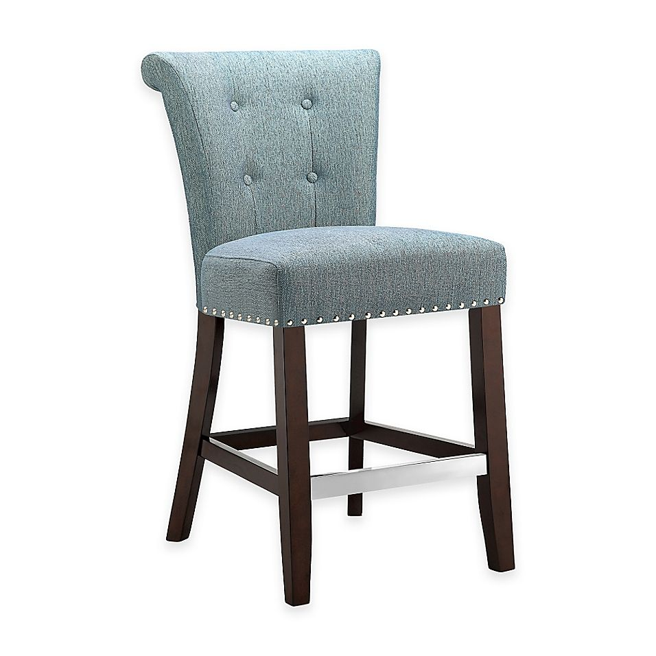 Madison Park Colfax Counter Stool in Blue   Bed Bath & Beyond ...