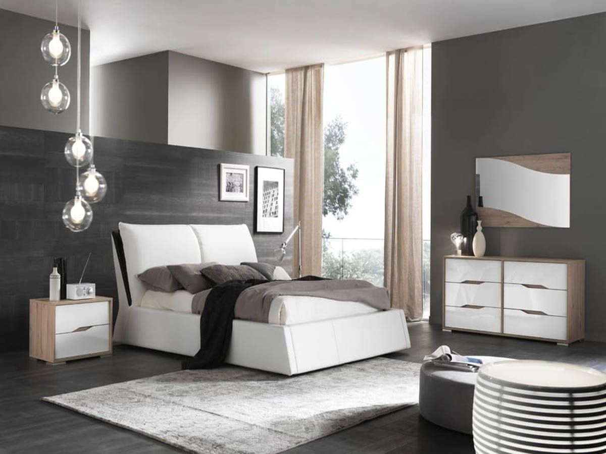 Modern Contemporary Lacquer Wood High Gloss Finish White Bedroom