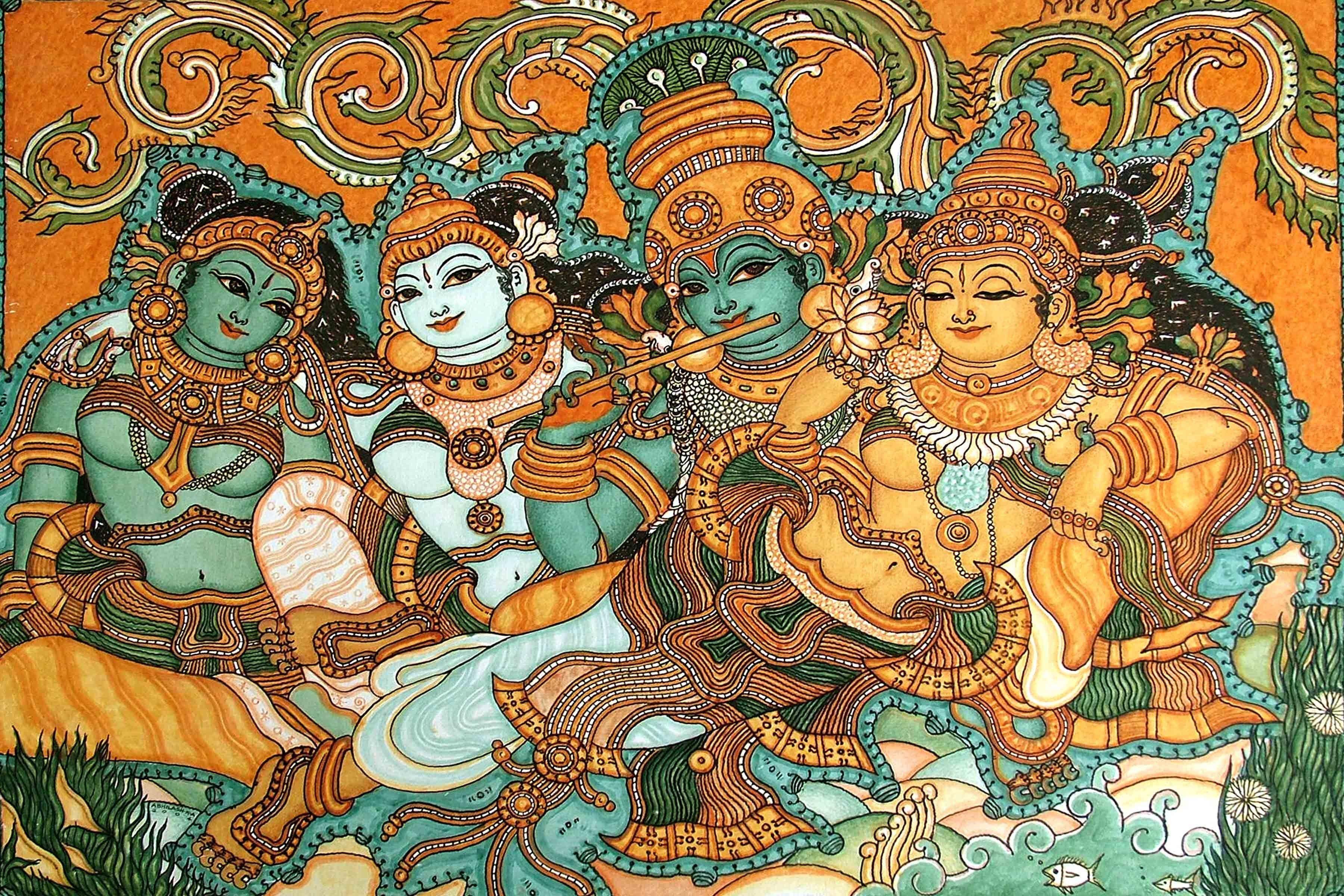 Craftsvilla kerala mural art paintings krishna wooing for Mural radha krishna