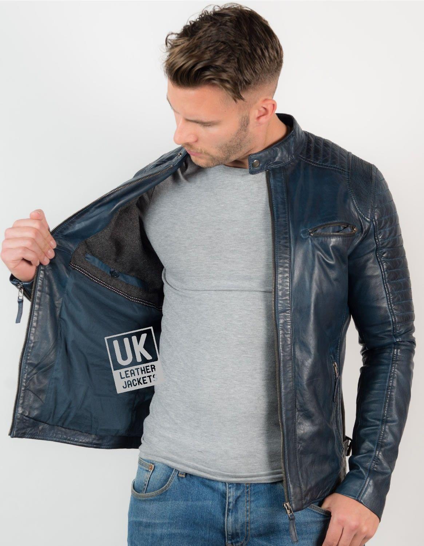 Mens Navy Leather Biker Jacket UK LJ Ceasuri pentru