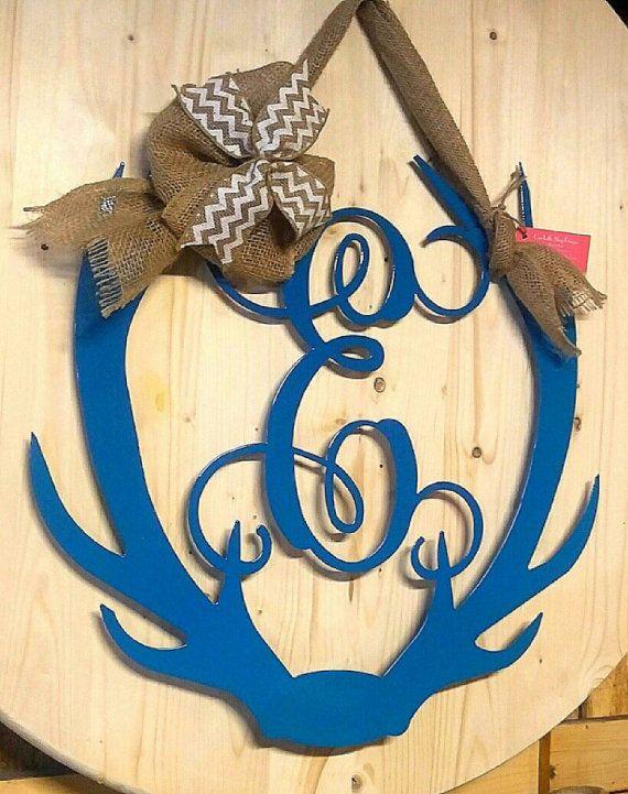 Antler Monogram, Door Antler wreath, Antler Wall Hanging, Antler ...
