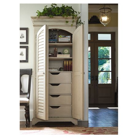Storage Cabinet With Two Louvered Doors And Adjustable Shelves