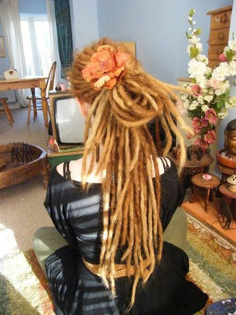 dreads with big flower clip