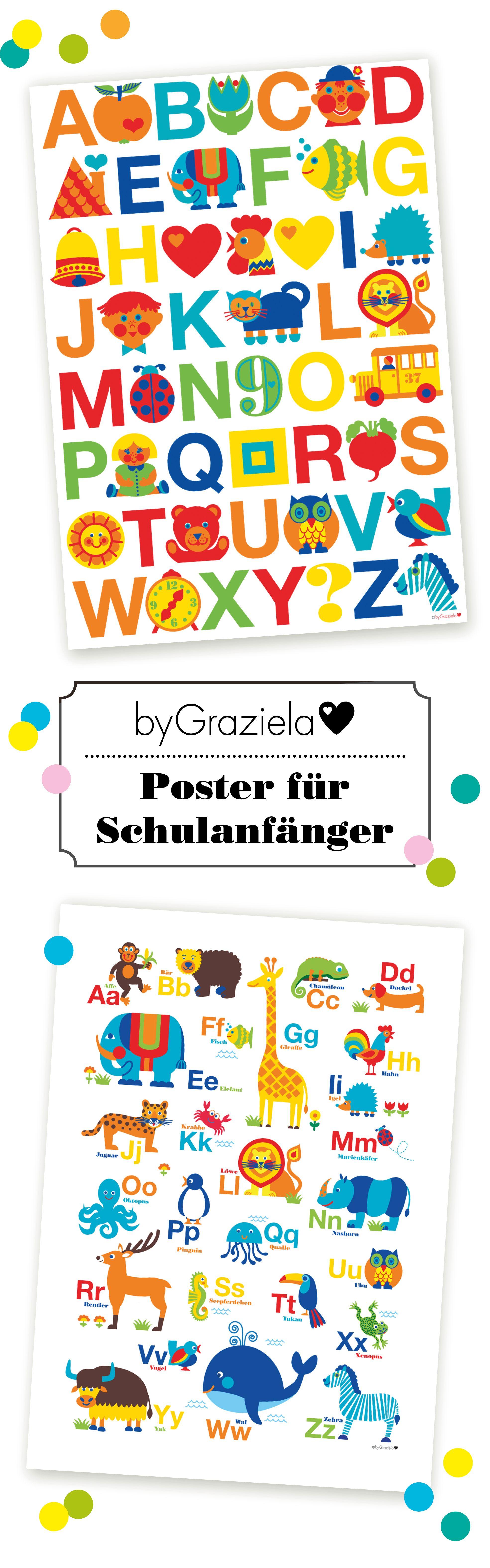 Bunte Poster für Kinder und insbesondere Schulanfänger. Tolle ...