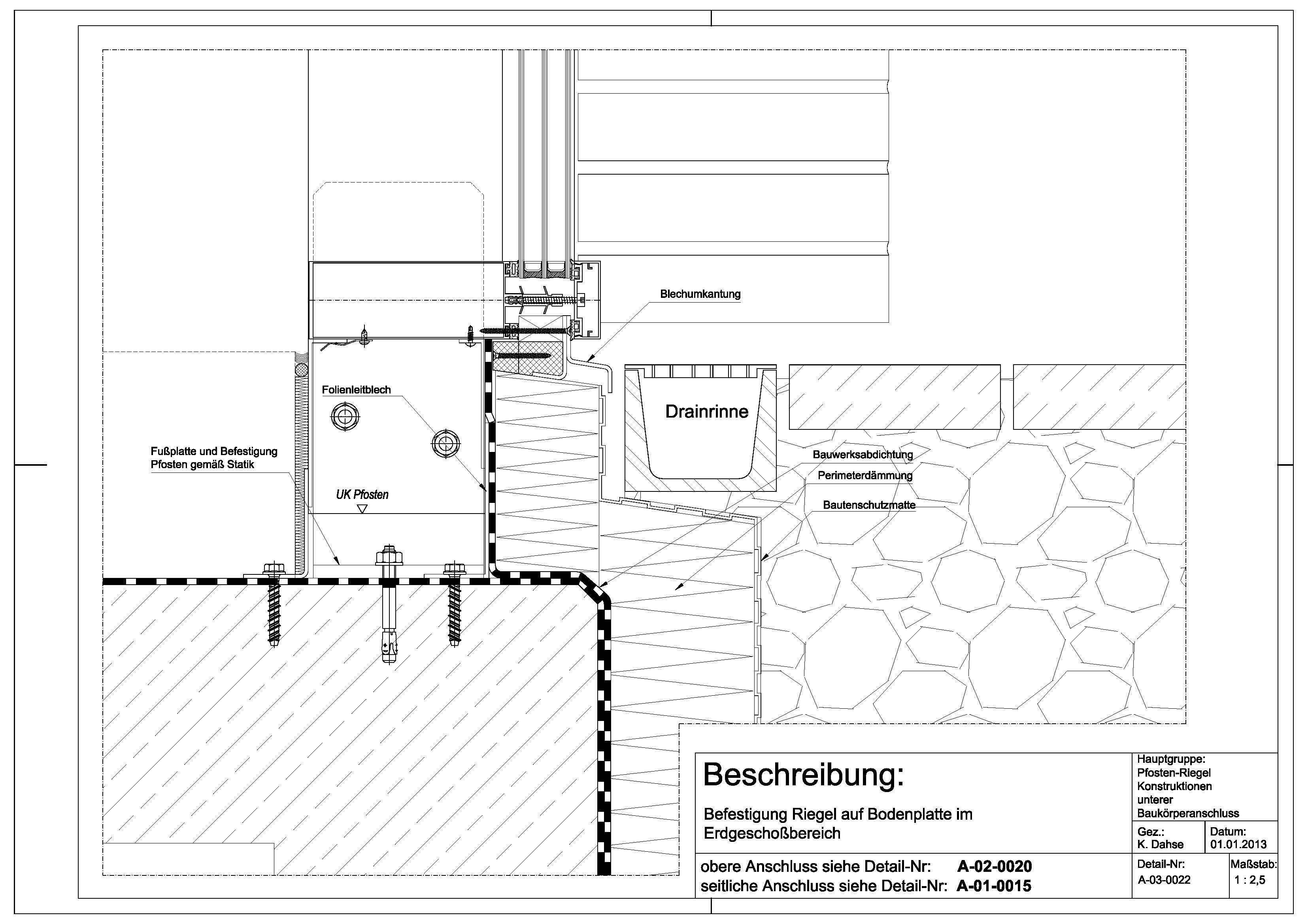 a 03 0022 befestigung riegel auf bodenplatte im erdgeschossbereich a 03 0022 konstruktion. Black Bedroom Furniture Sets. Home Design Ideas