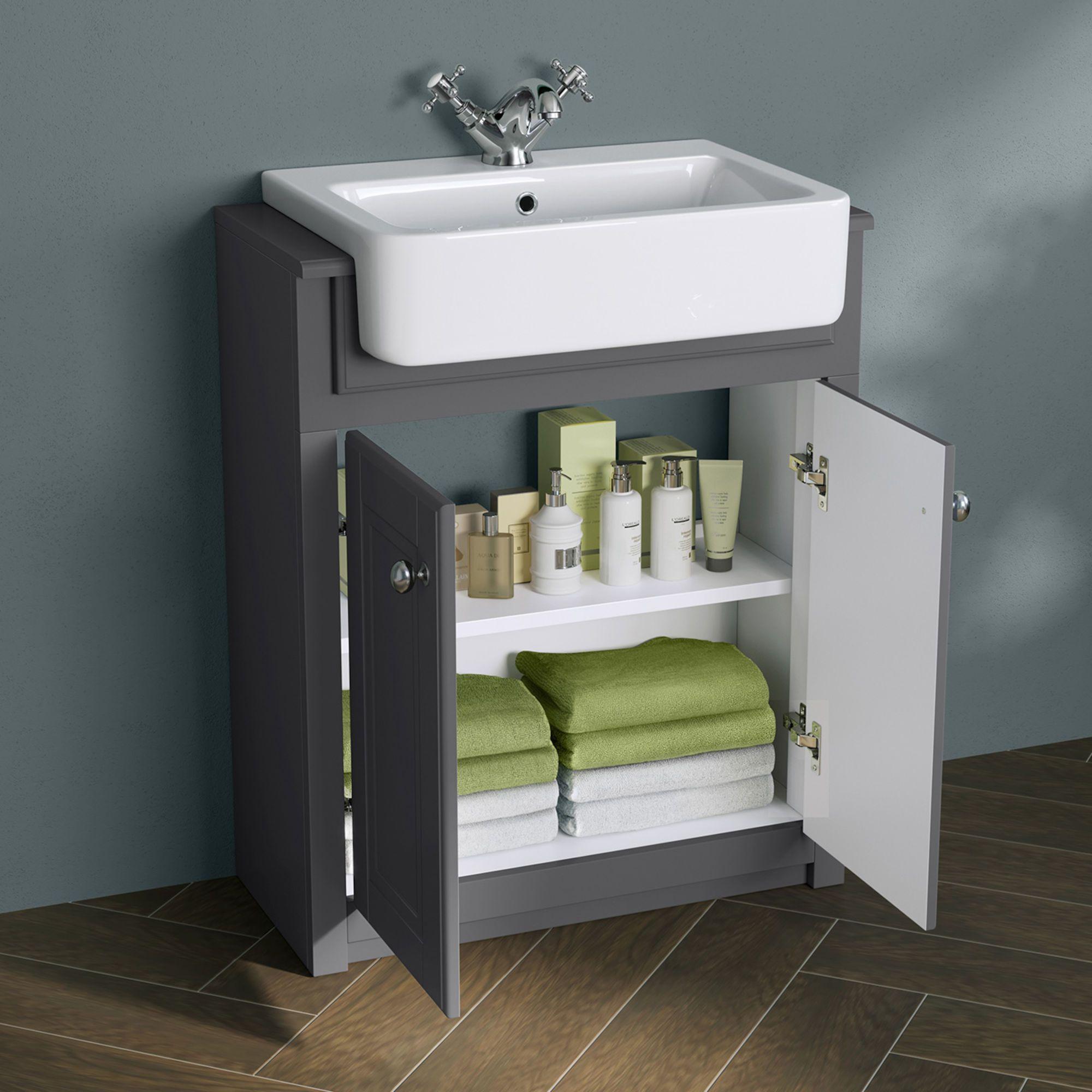 667mm Cambridge Midnight Grey Floorstanding Basin Vanity Unit Soak Com Basin Vanity Unit Vanity Units Sink Vanity Unit