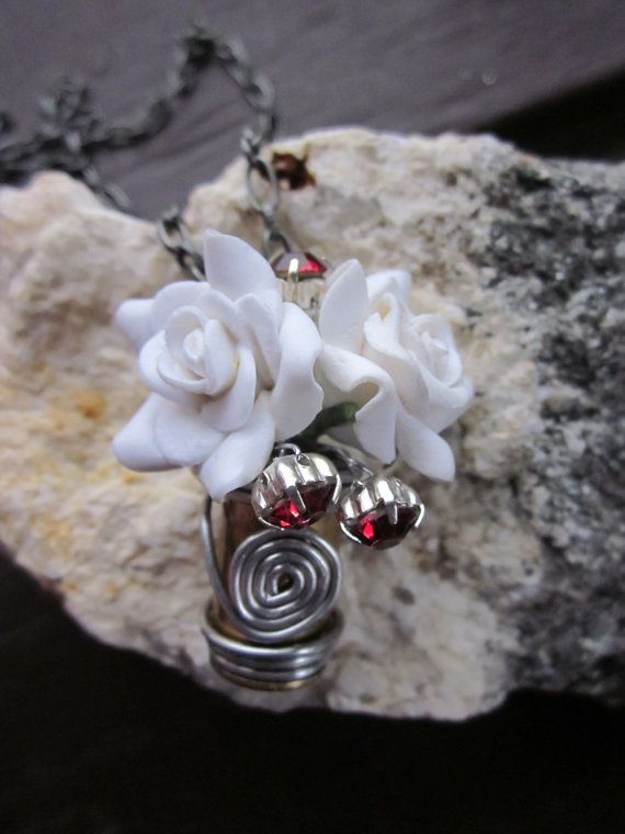 My Bloody Valentine 45 Auto Bullet Casing Pendant  with White Roses by Soareyou, $29.99
