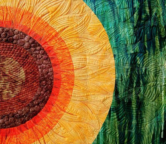 Sunflower Art quilt. Wall hanging. Wall art quilt. Contemporary ...
