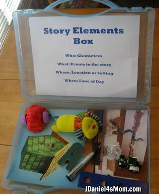 Writing boxes. Have small boxes or jars filled with items for students to come up with a story about.