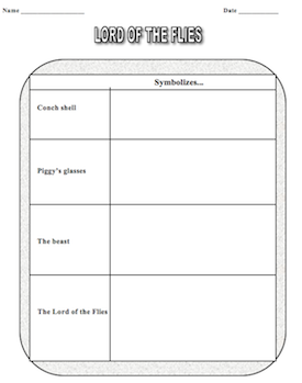 Worksheets Symbolism Worksheets ready to print student worksheets for lord of the flies novel packet contains rising