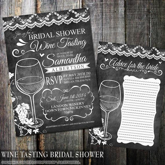Any Color Chalkboard Wine Tasting Bridal Shower