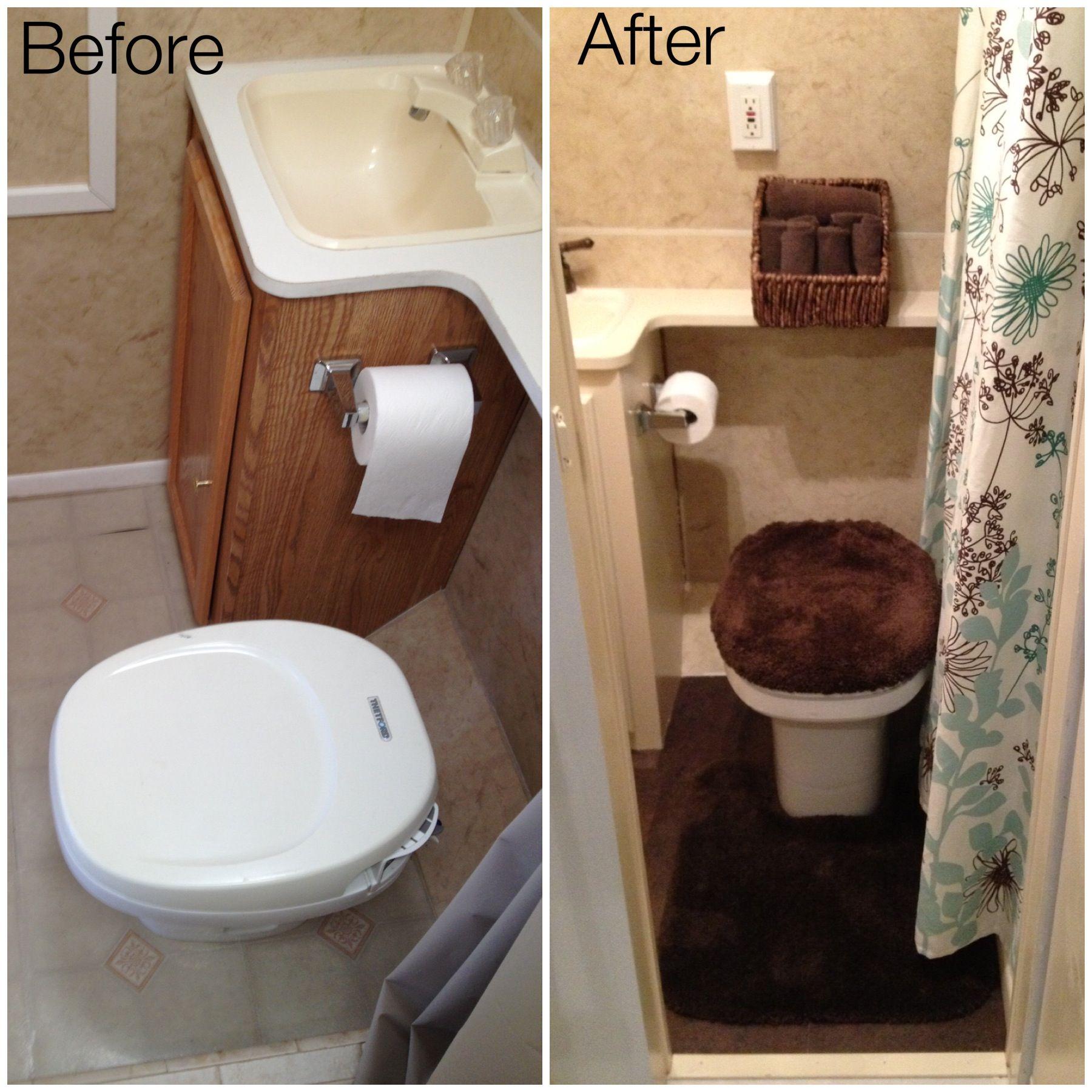 Travel Trailer Remodel- Bathroom- New tile flooring, painted ...