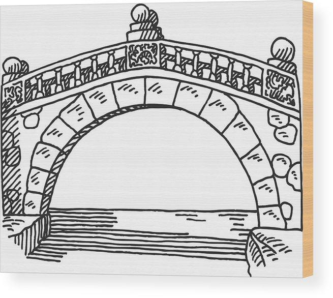 Stone Bridge Drawing Wood Print By Frankramspott Bridge Drawing Drawings City Drawing